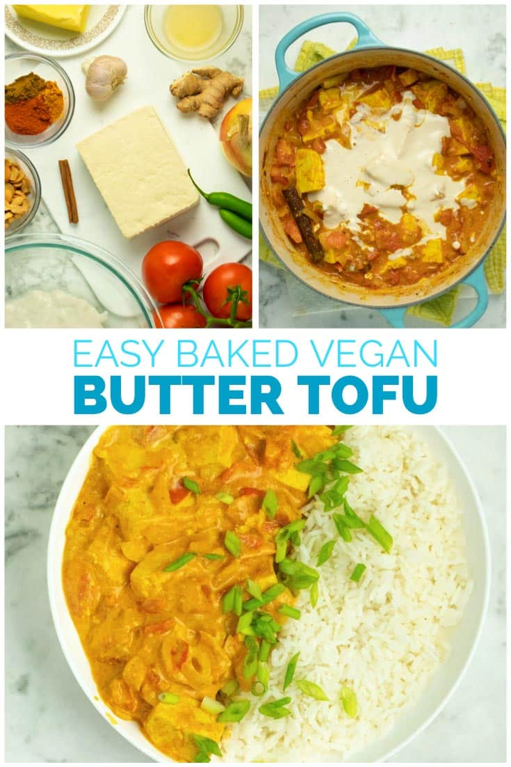 image collage of making and serving butter tofu