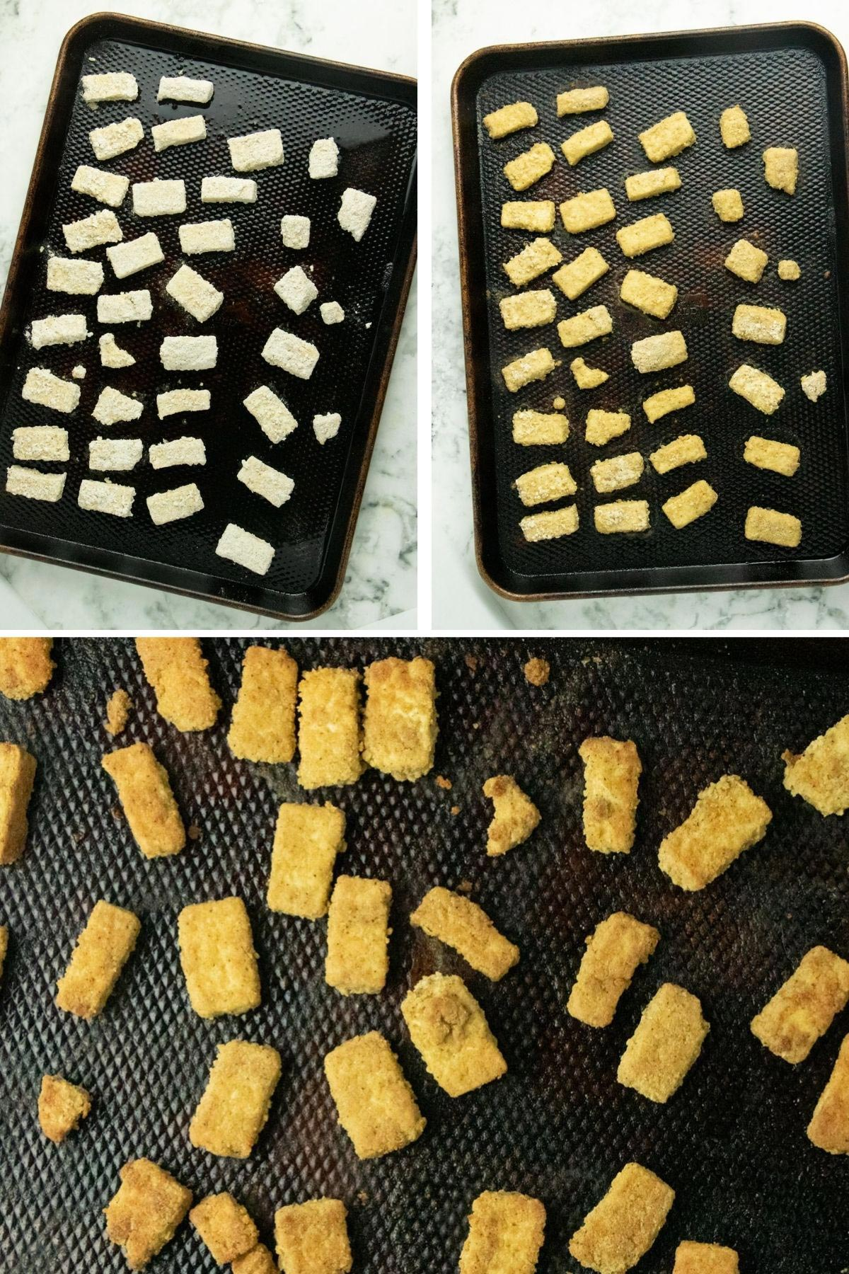 image collage showing tofu on a baking sheet before baking, after flipping, and after the full baking time