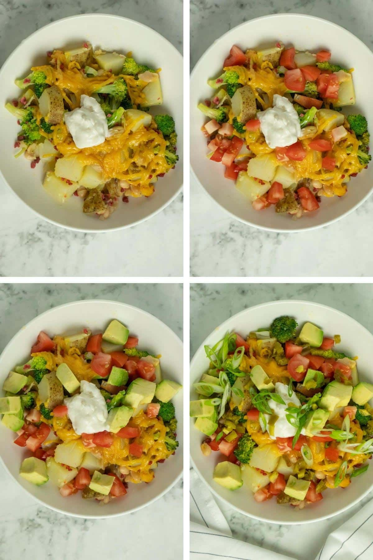 image collage showing the casserole in a dish with different toppings layered on