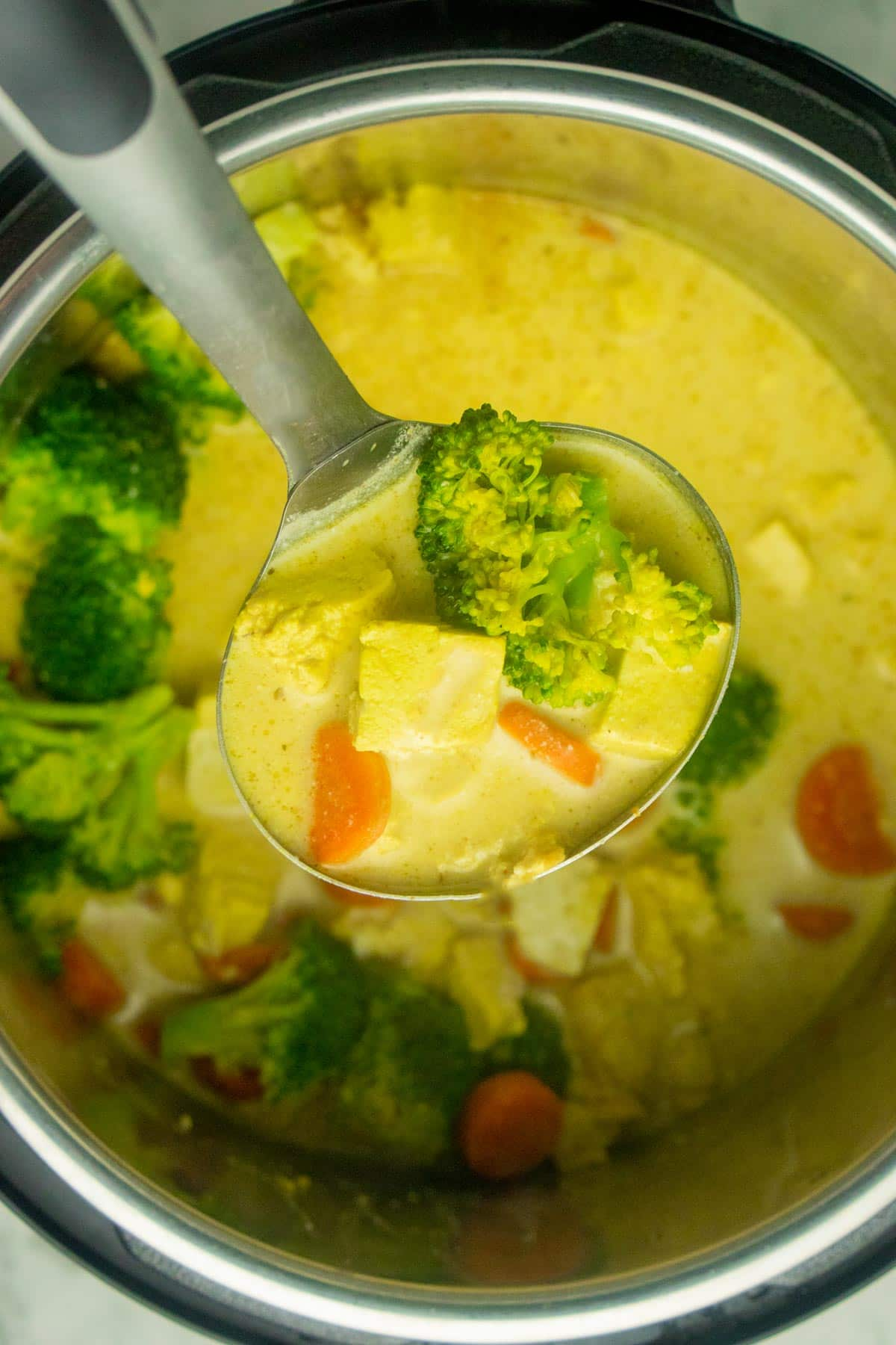 ladle scooping up coconut curry soup from the Instant Pot