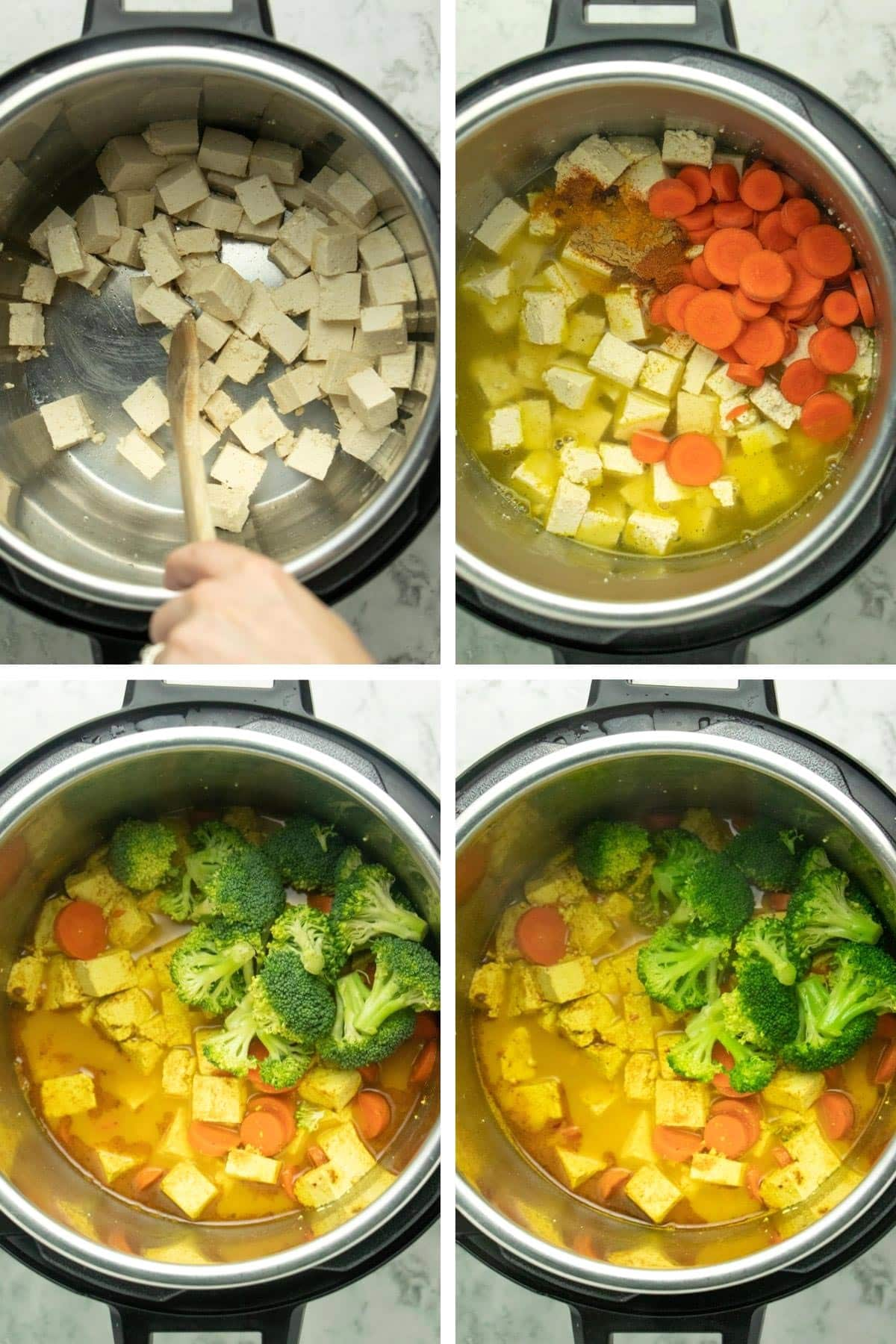 image collage showing the the ingredients being added to the Instant Pot  in order