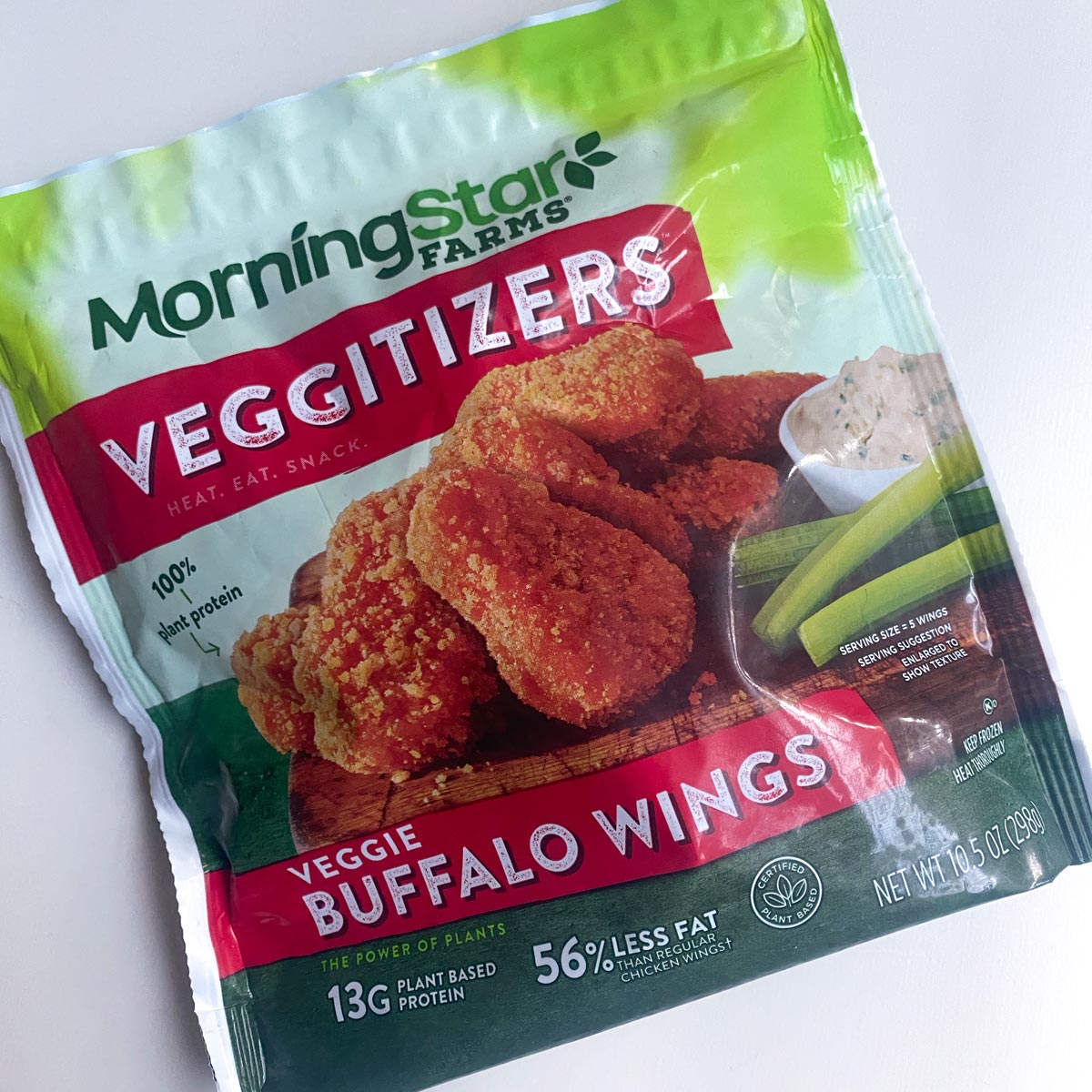package of Morningstar Farms Buffalo Wings on a white table