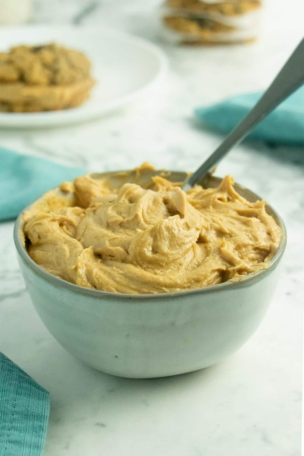 bowl of peanut butter frosting