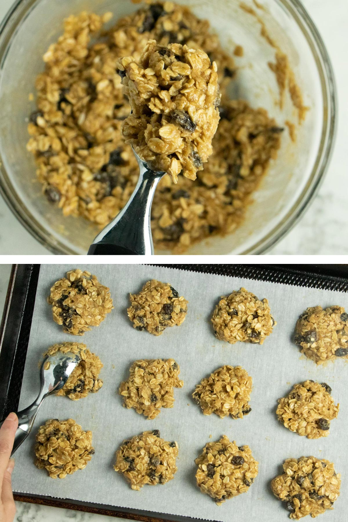 image collage showing scooping the dough onto a cookie sheet and flattening it slightly