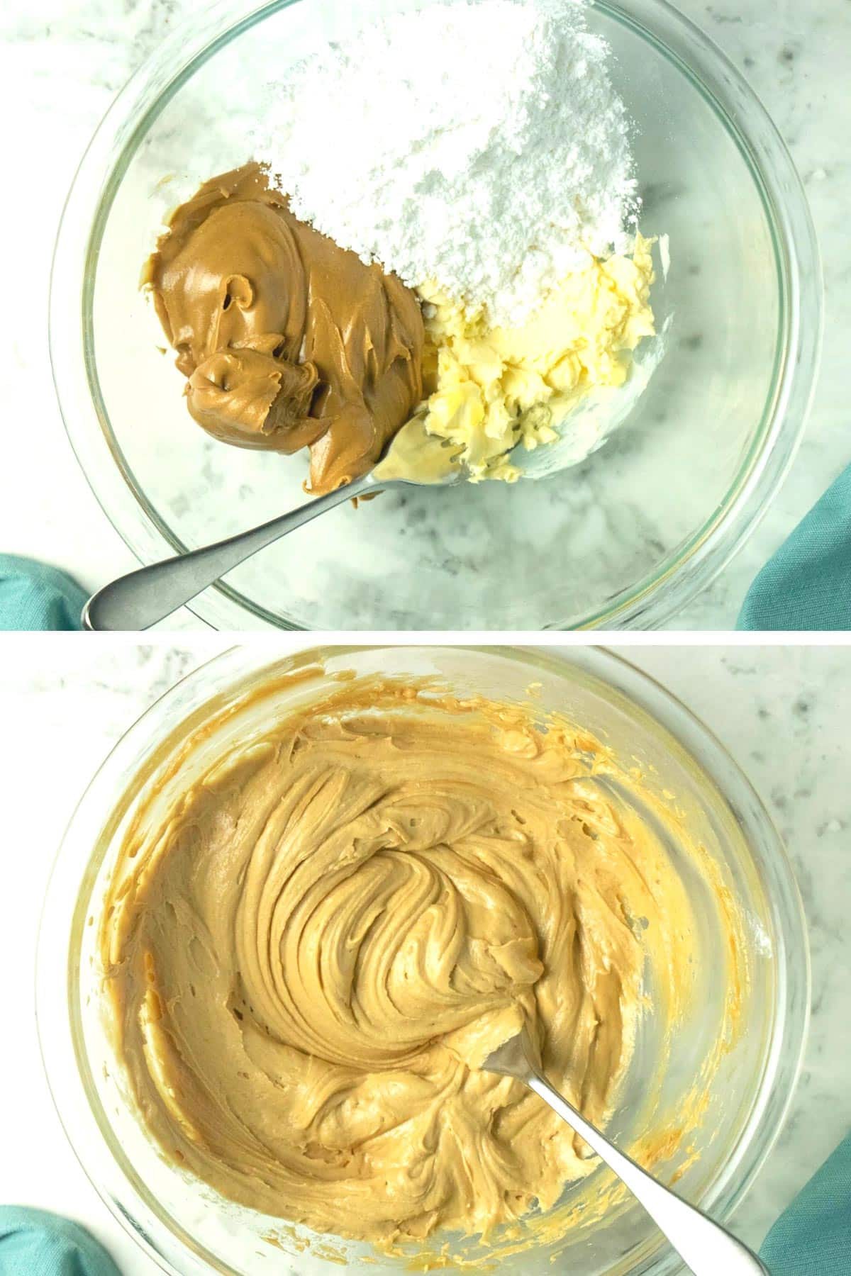 image collage of frosting ingredients in a bowl, then the frosting whipped up, so you can see the color difference