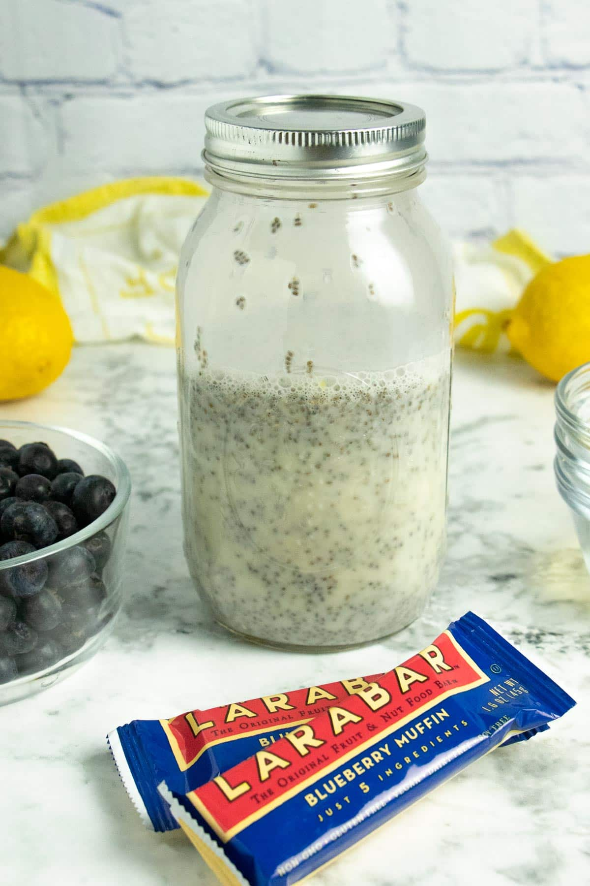 lemon chia pudding in a quart sized mason jar