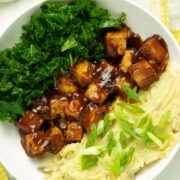 bbq tofu bowl with mashed potatoes and kale