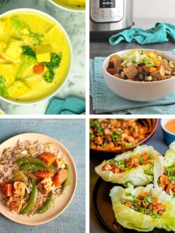 image collage of Instant Pot tofu recipes: soup, chili, sesame, lettuce wraps