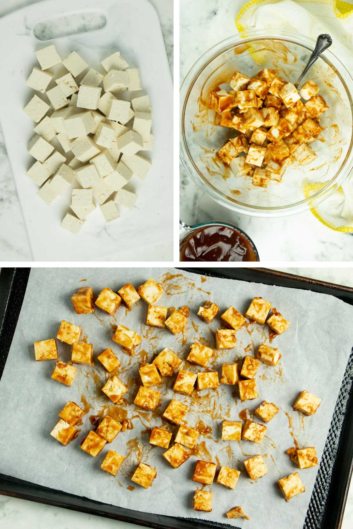 image collage showing cubed tofu tossed with BBQ sauce arranged on a baking sheet