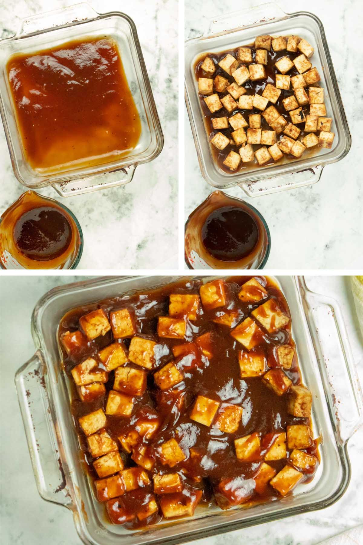 image collage showing a baking pan of BBQ sauce filling with tofu and more BBQ sauce