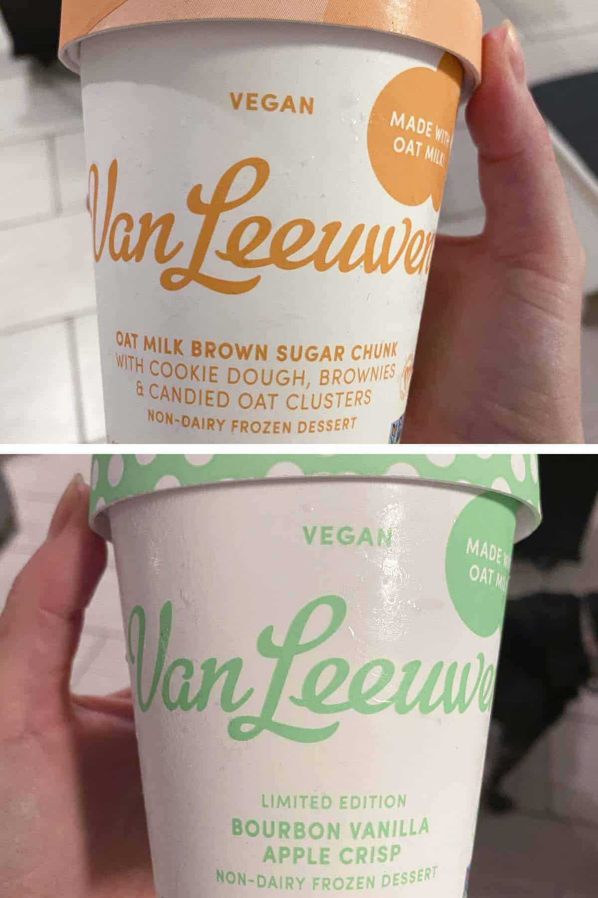 image collage of two pints of Van Leeuwen vegan ice cream: Oat Milk Brown Sugar Chunk and Bourbon Vanilla Apple Crisp