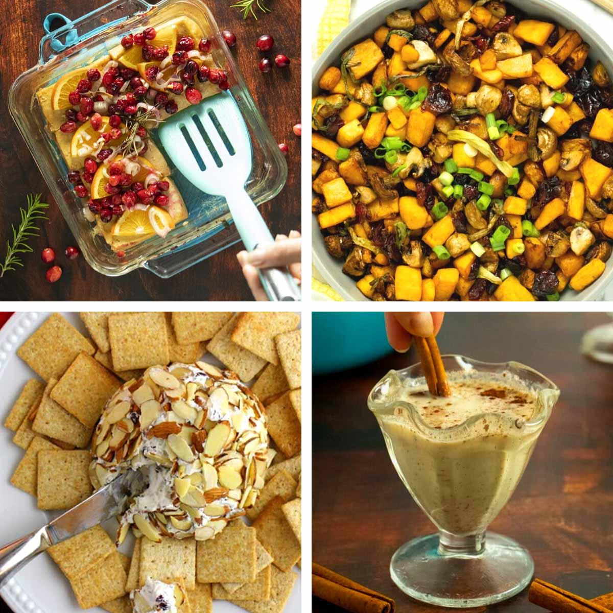 image collage of vegan holiday dishes: cranberry tofu, roasted squash, vegan cheese ball, and vegan eggnog