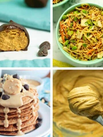 image collage of vegan peanut butter recipes: energy bites, noodles, pancakes, frosting