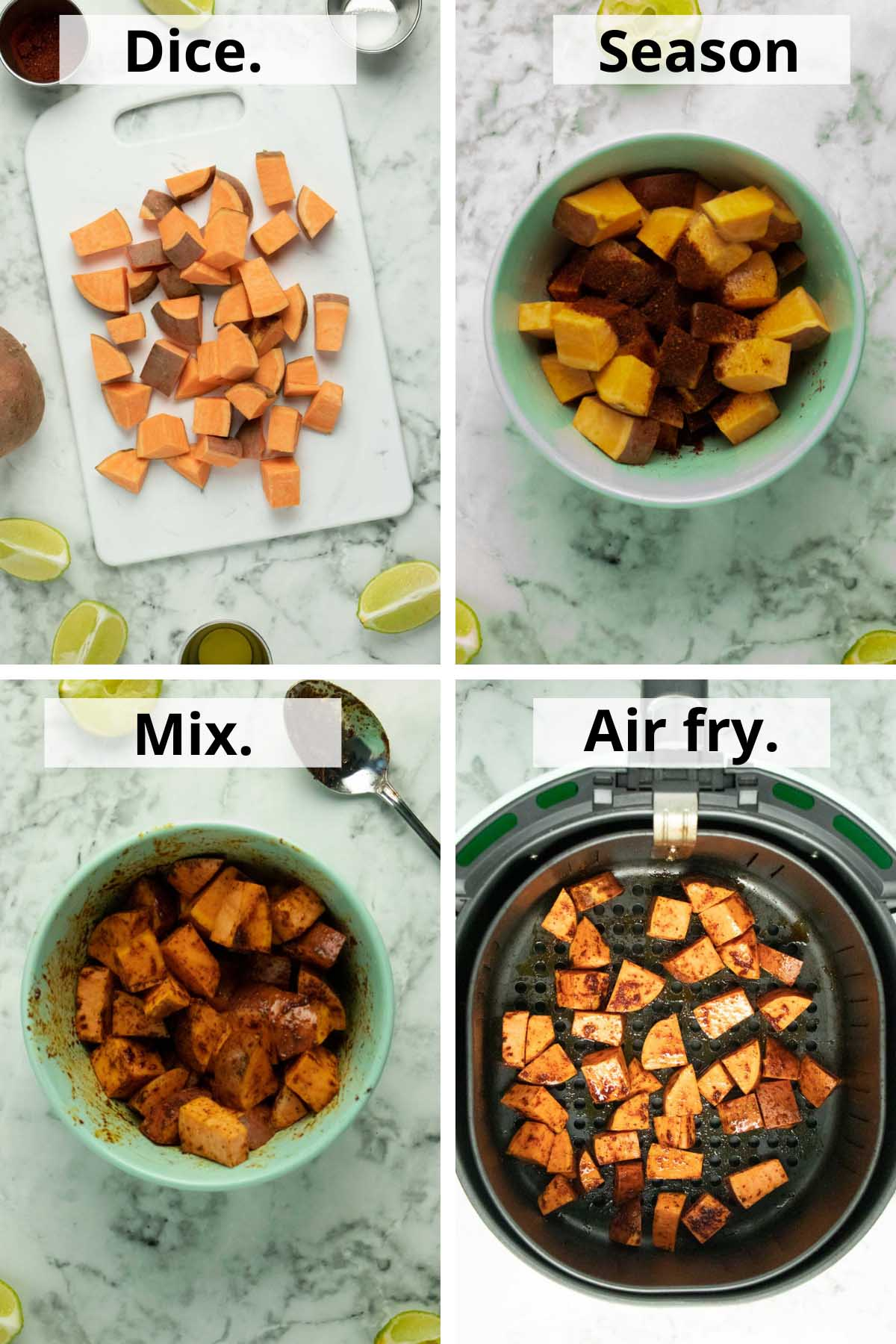 image collage showing the diced sweet potato, mixing with seasoning, and ready to cook in the basket