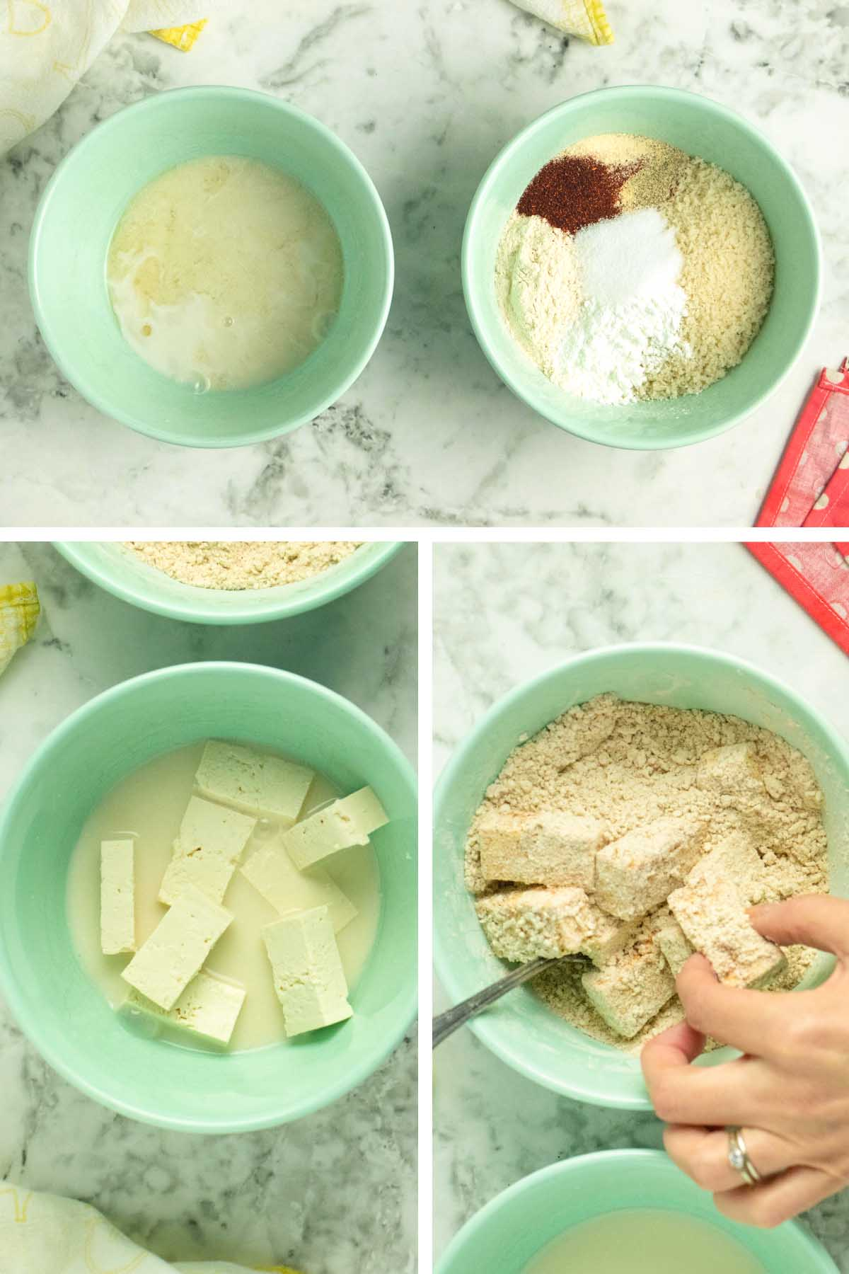 image collage showing the wet and dry ingredients bowls and showing the tofu in each bowl