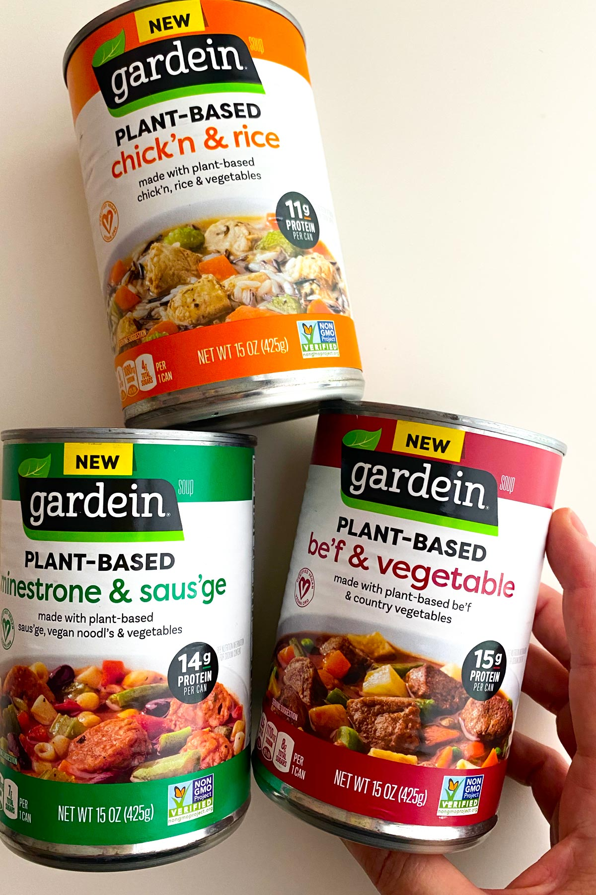 3 varieties of Gardein canned soups: chicken and rice, minestrone and sausage, and beef and vegetable