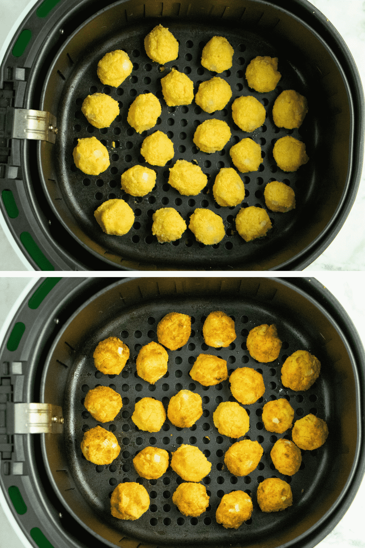 image collage showing the hush puppies in the air fryer basket before and after cooking