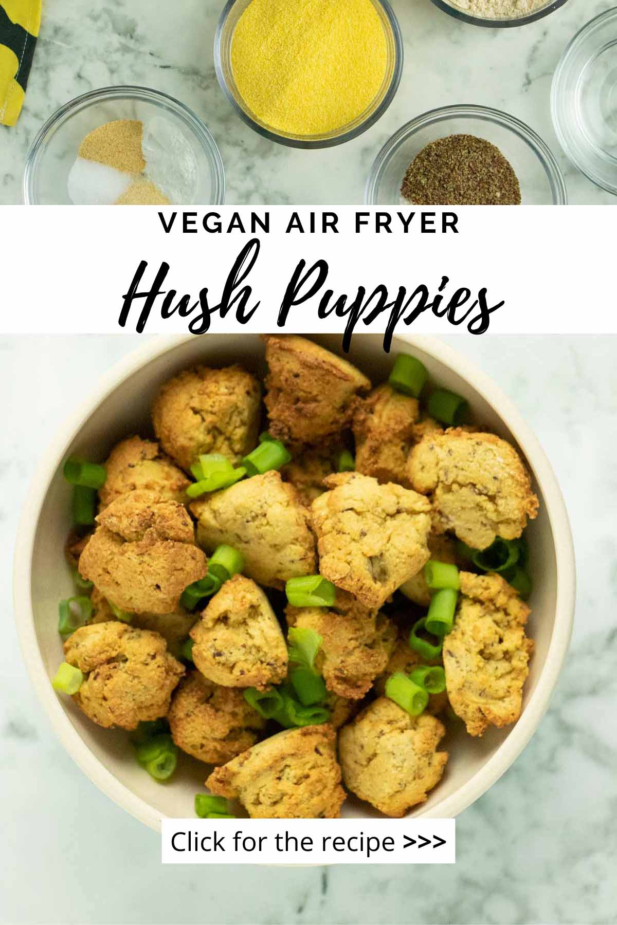 image collage of ingredients and the air fryer hush puppies in a bowl on a marble table