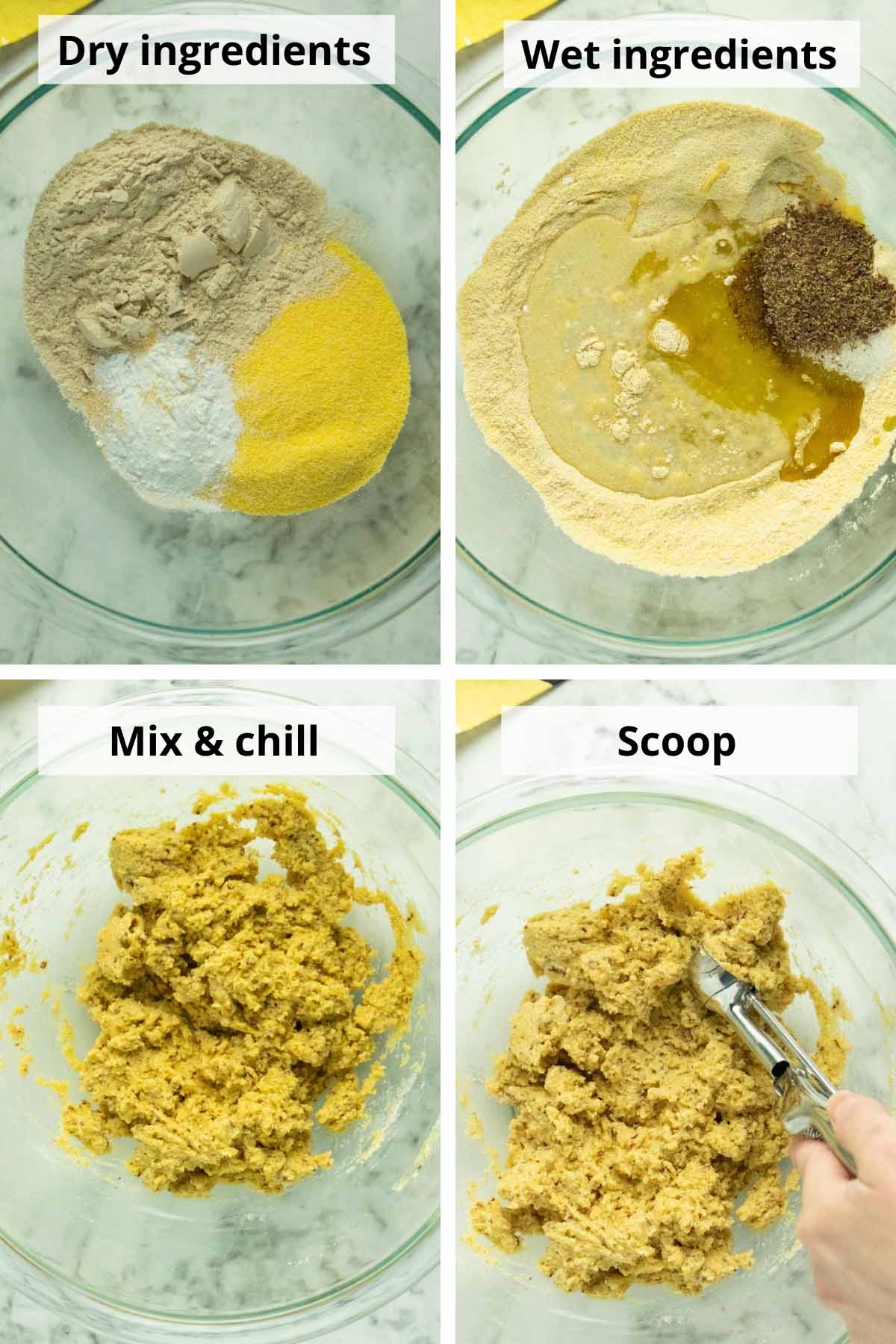 image collage showing the steps to make the batter