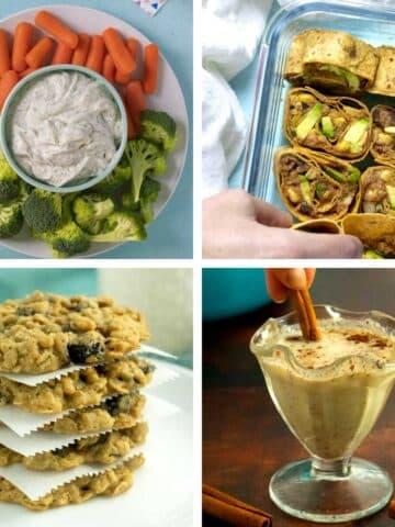image collage of vegan New Year's Eve party foods: dip, pinwheels, cookies, and nog