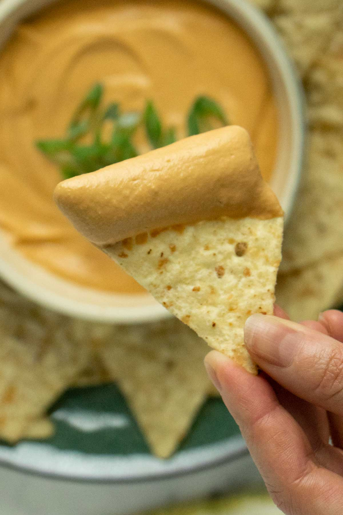 close-up of the vegan queso dip on a tortilla chip