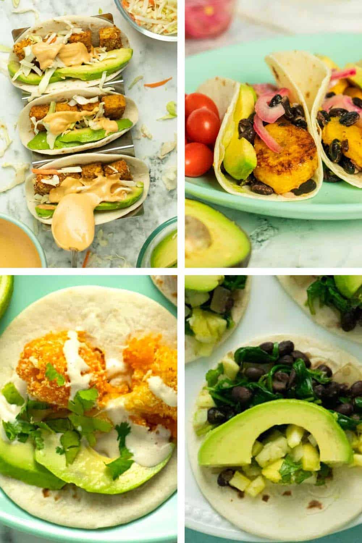 image collage of vegan tacos: crispy tofu, plantain, black bean, and cauliflower