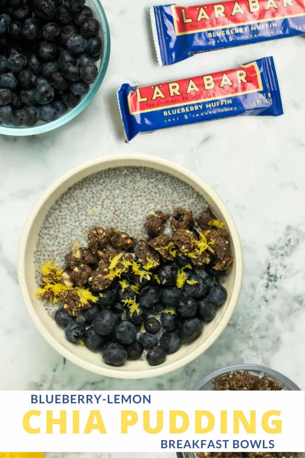 bowl of lemon chia pudding next to fresh blueberries and Larabars