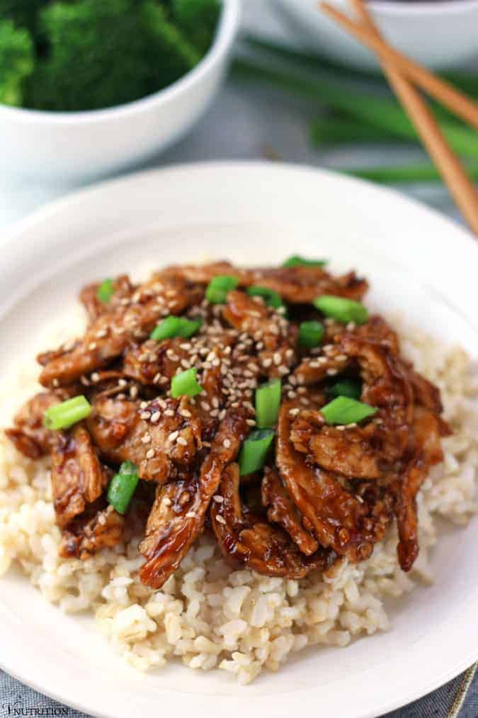 plate of Mongolian soy curls over brown rice