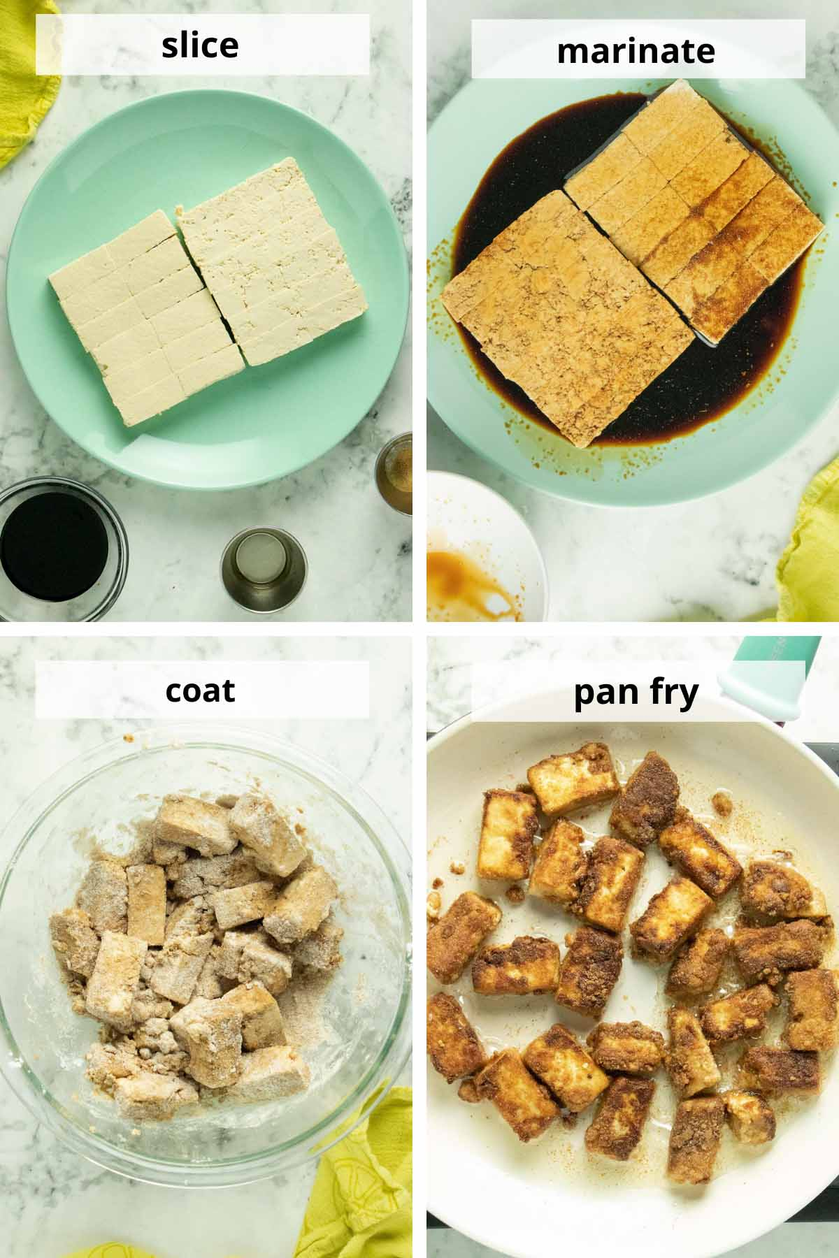 image collage showing tofu sliced, marinating, coated, and then in the frying pan