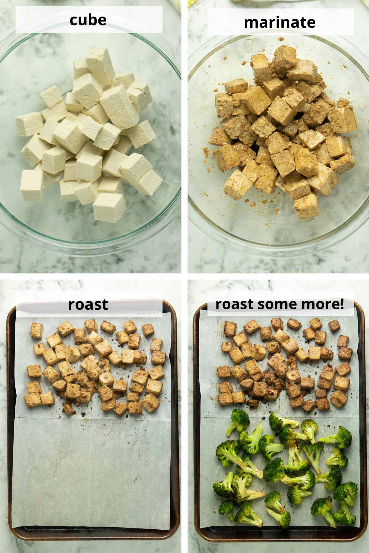 process collage showing tofu diced and marinating, then roasted and finished roasting with the broccoli on the pan