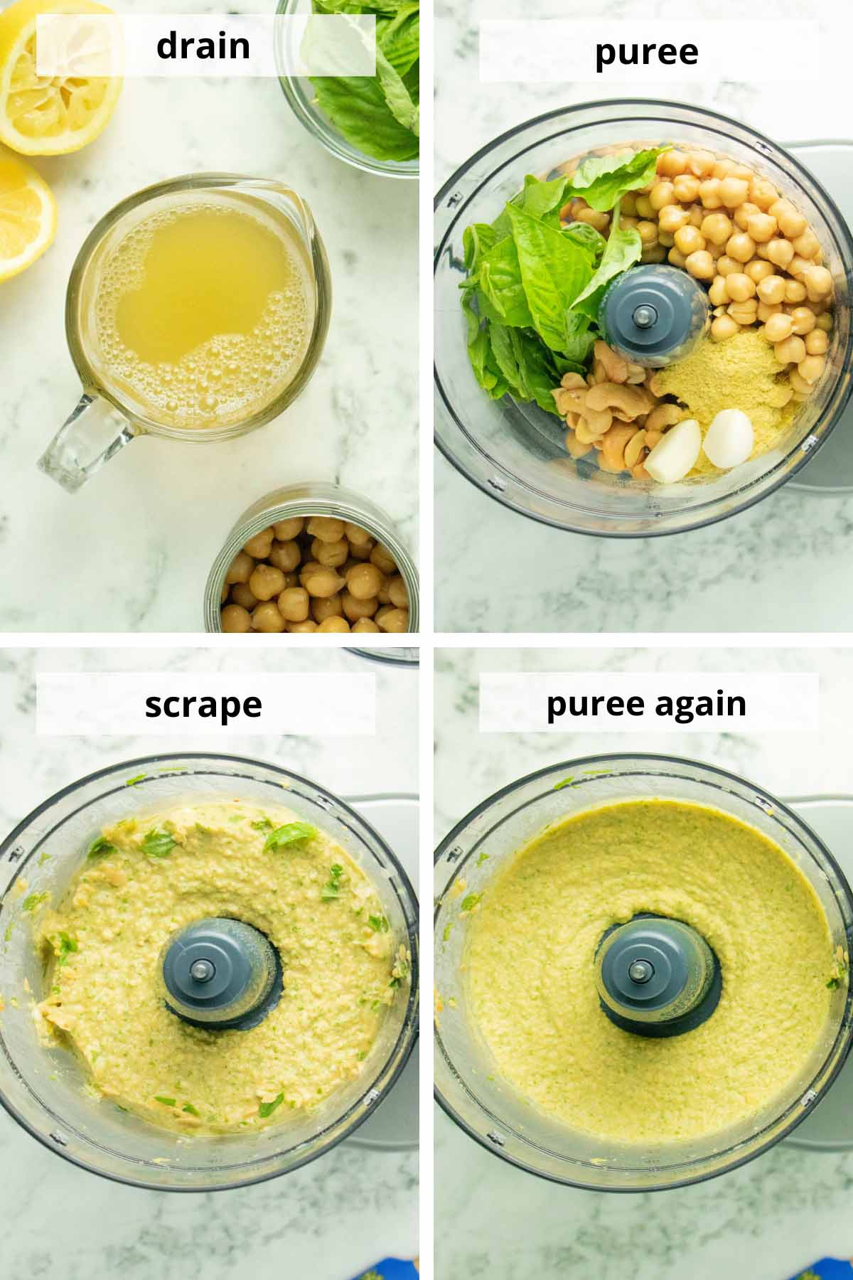 image collage showing hummus ingredients before, during, and after blending