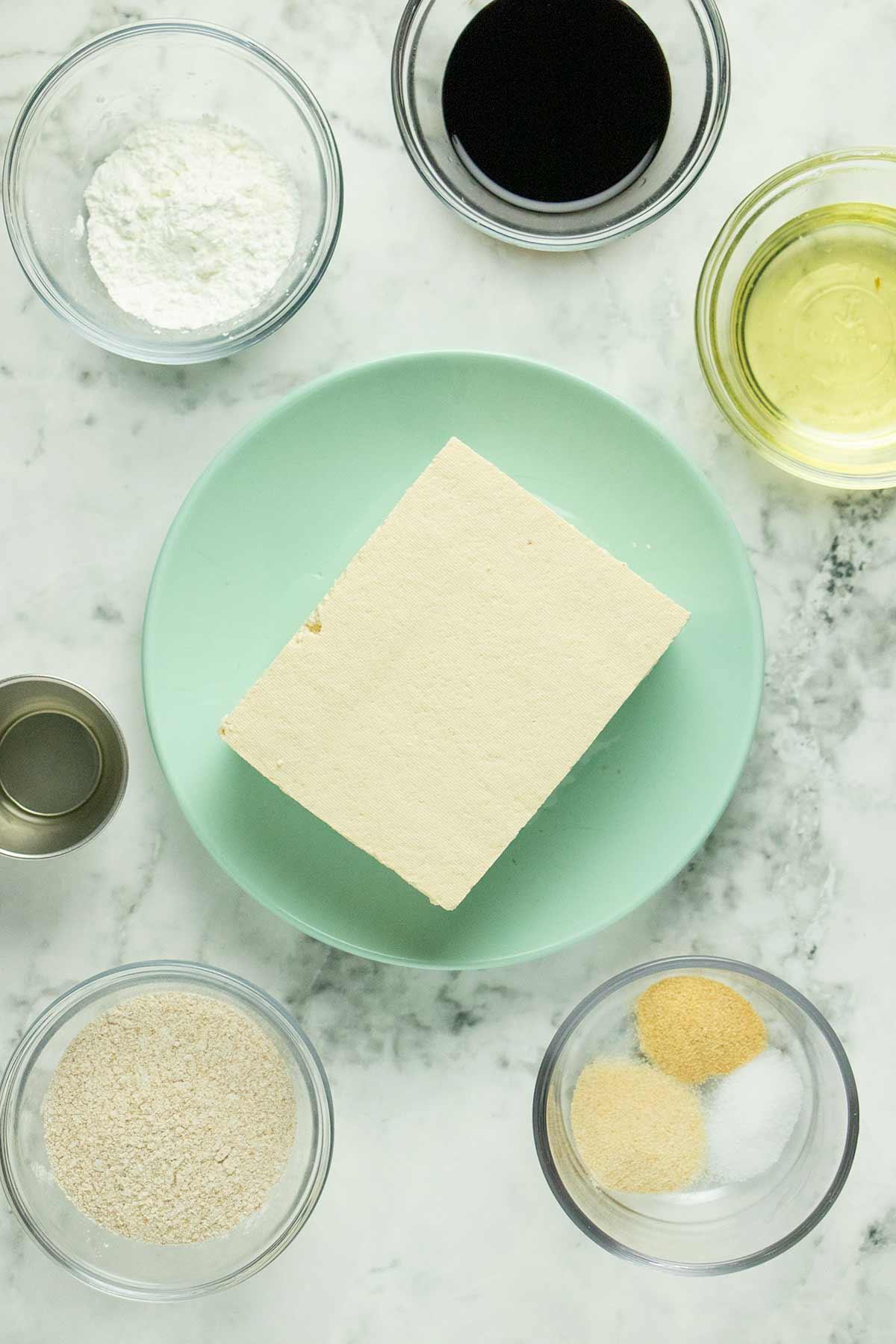 crispy tofu ingredients on a marble table