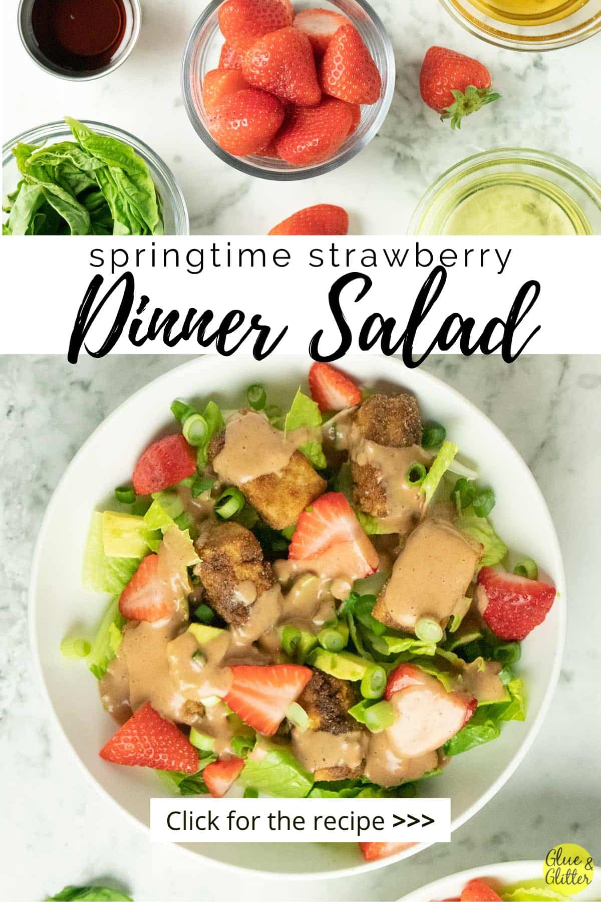 crispy tofu salad in a white bowl with romaine, strawberries, avocado, green onions, and creamy dressing