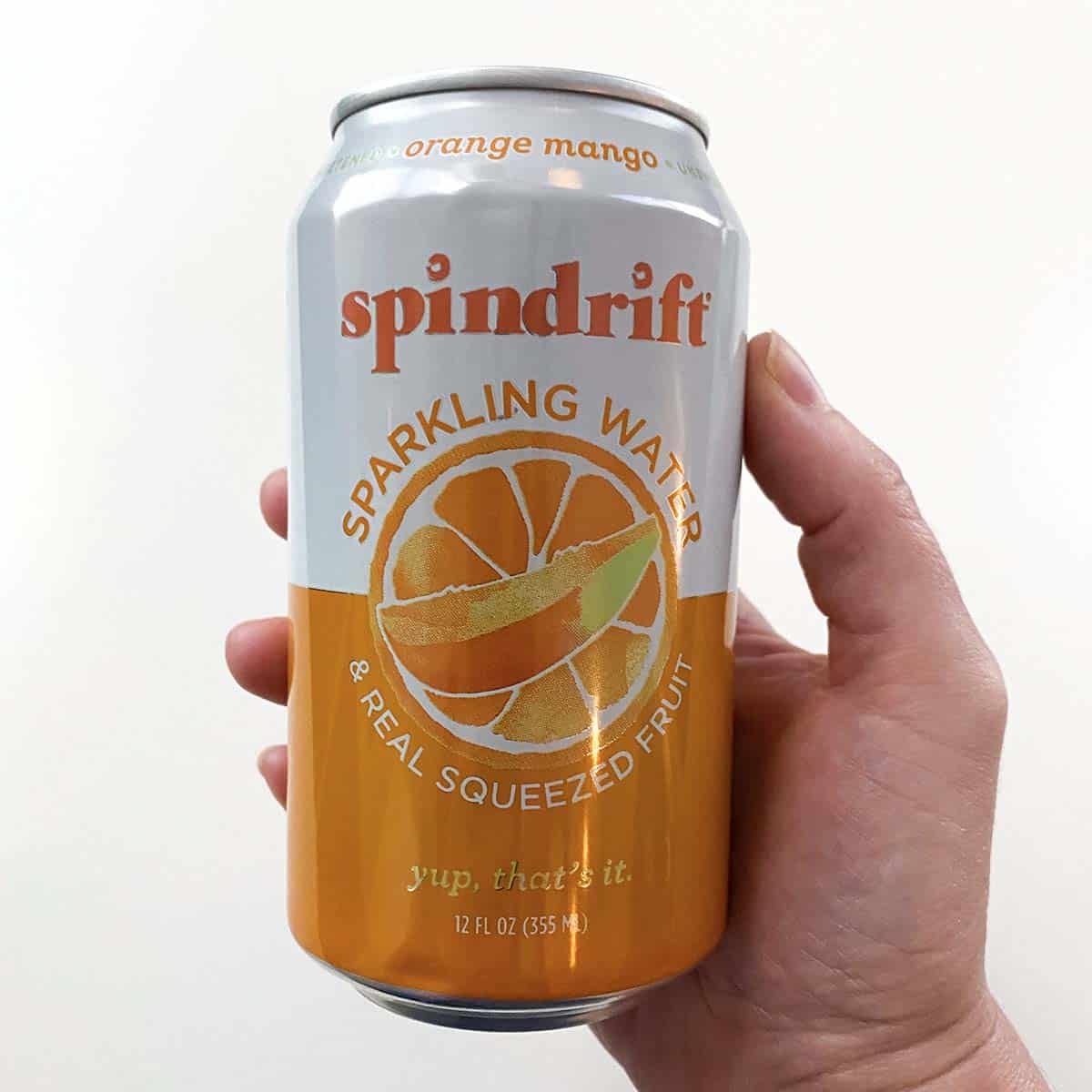 can of Orange Mango Spindrift Sparkling Water