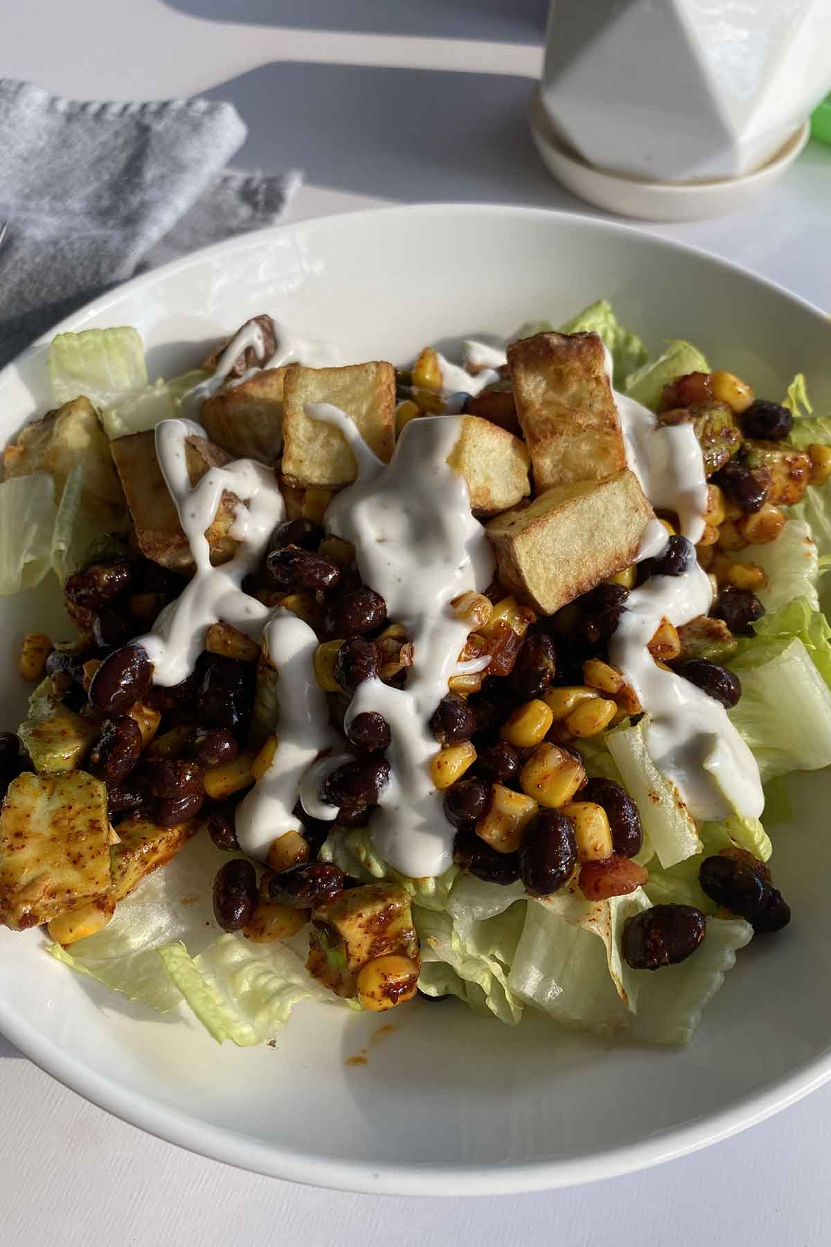 salad with beans, corn, avocado, potatoes, and Hidden Valley Plant Powered Ranch