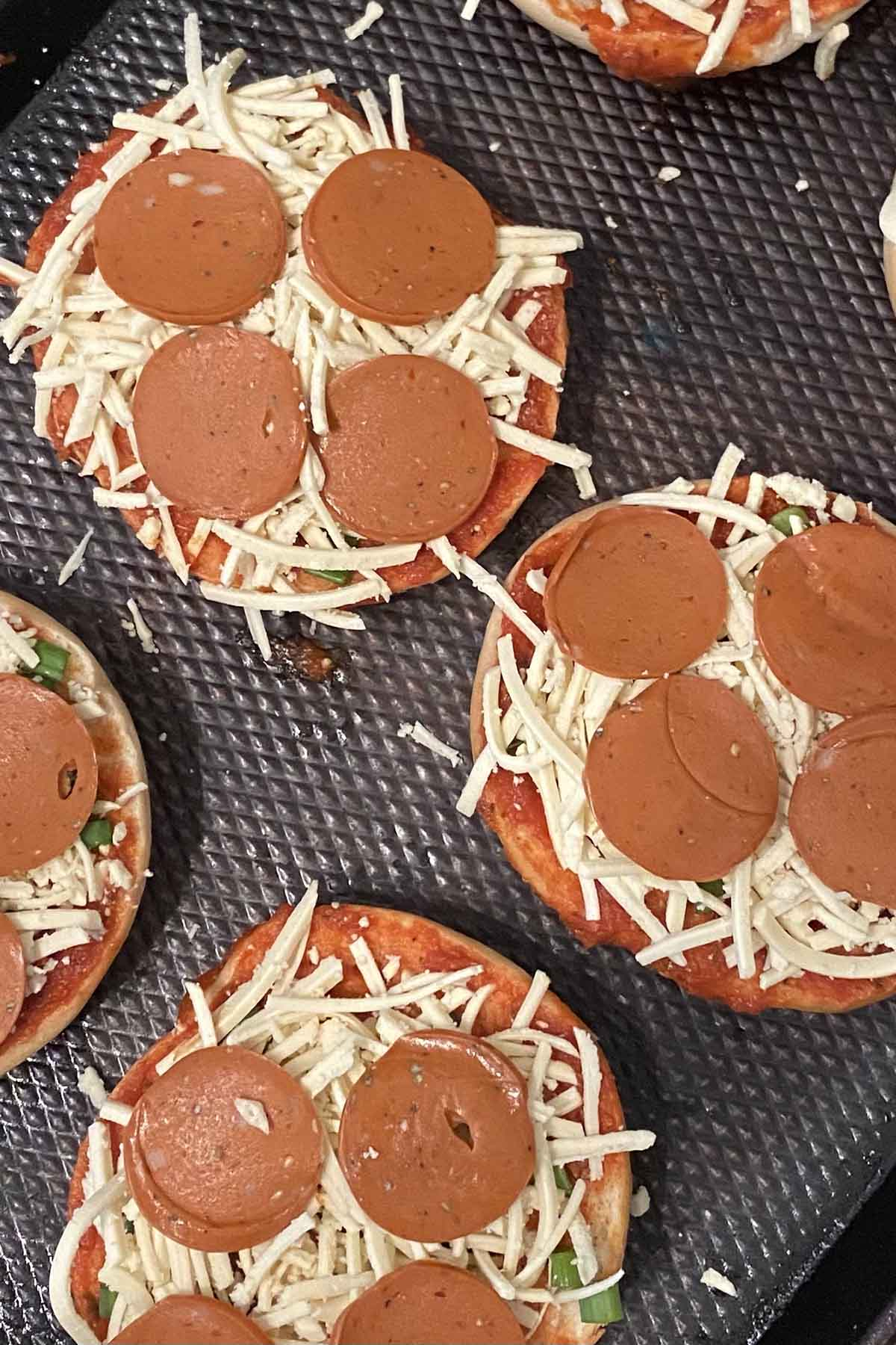 vegan bagel pizzas with Yves Veggie Pepperoni, before baking