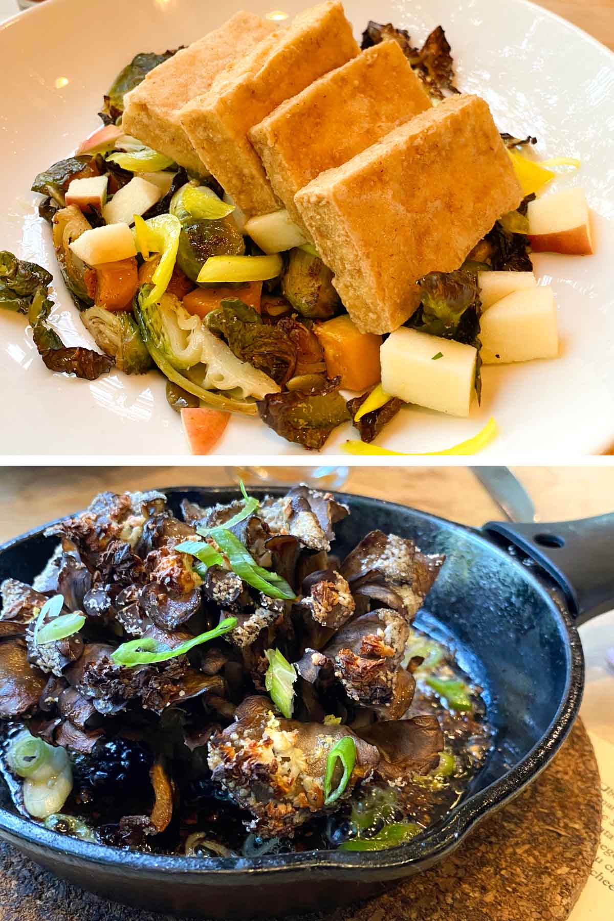 Brussels sprout salad with tofu and the crispy mushroom from Ration + Dram