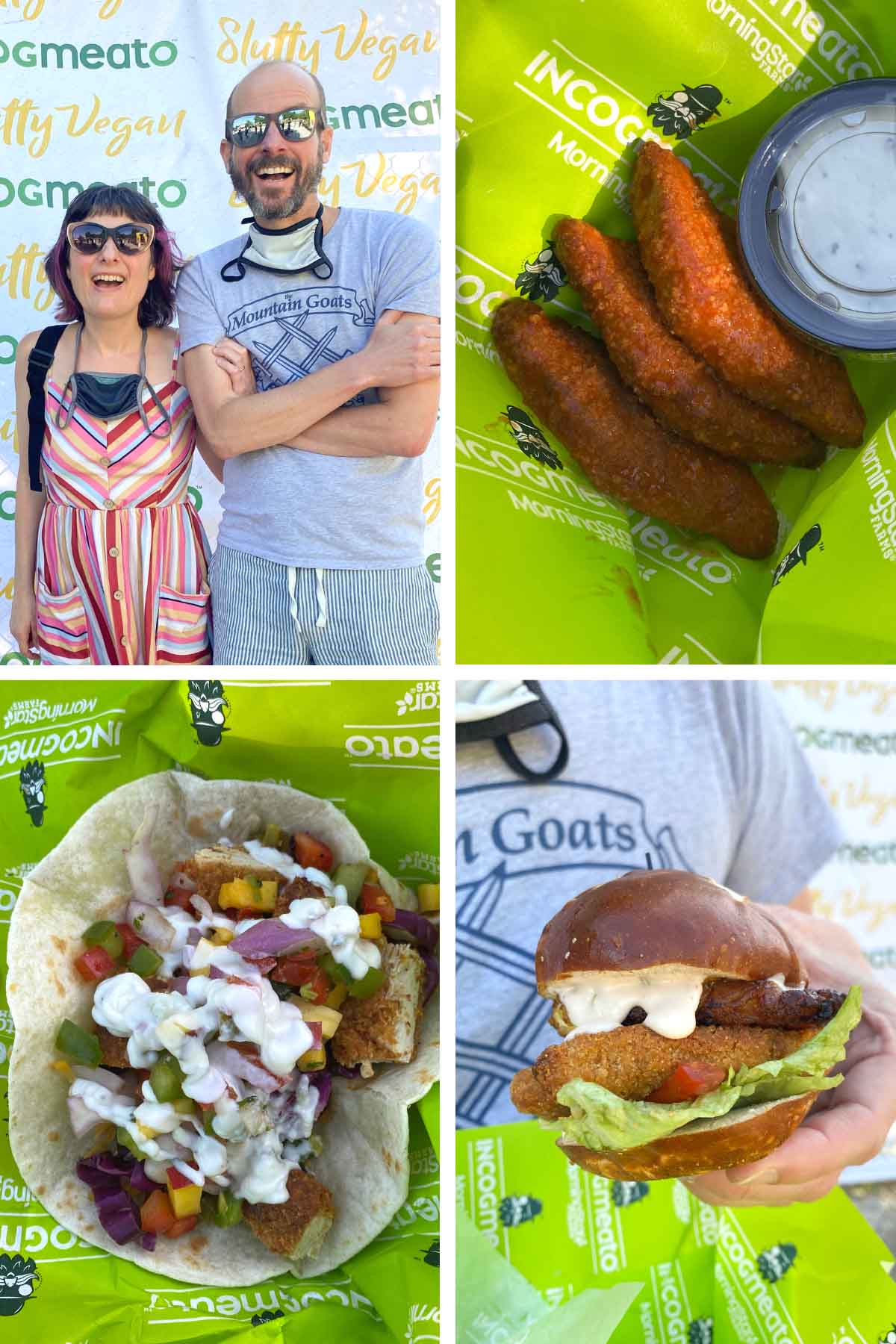 image collage of Dave and Becky at the Incogmeato event, vegan buffalo wings, a vegan chicken taco, and a vegan chicken sandwich with creamy sauce