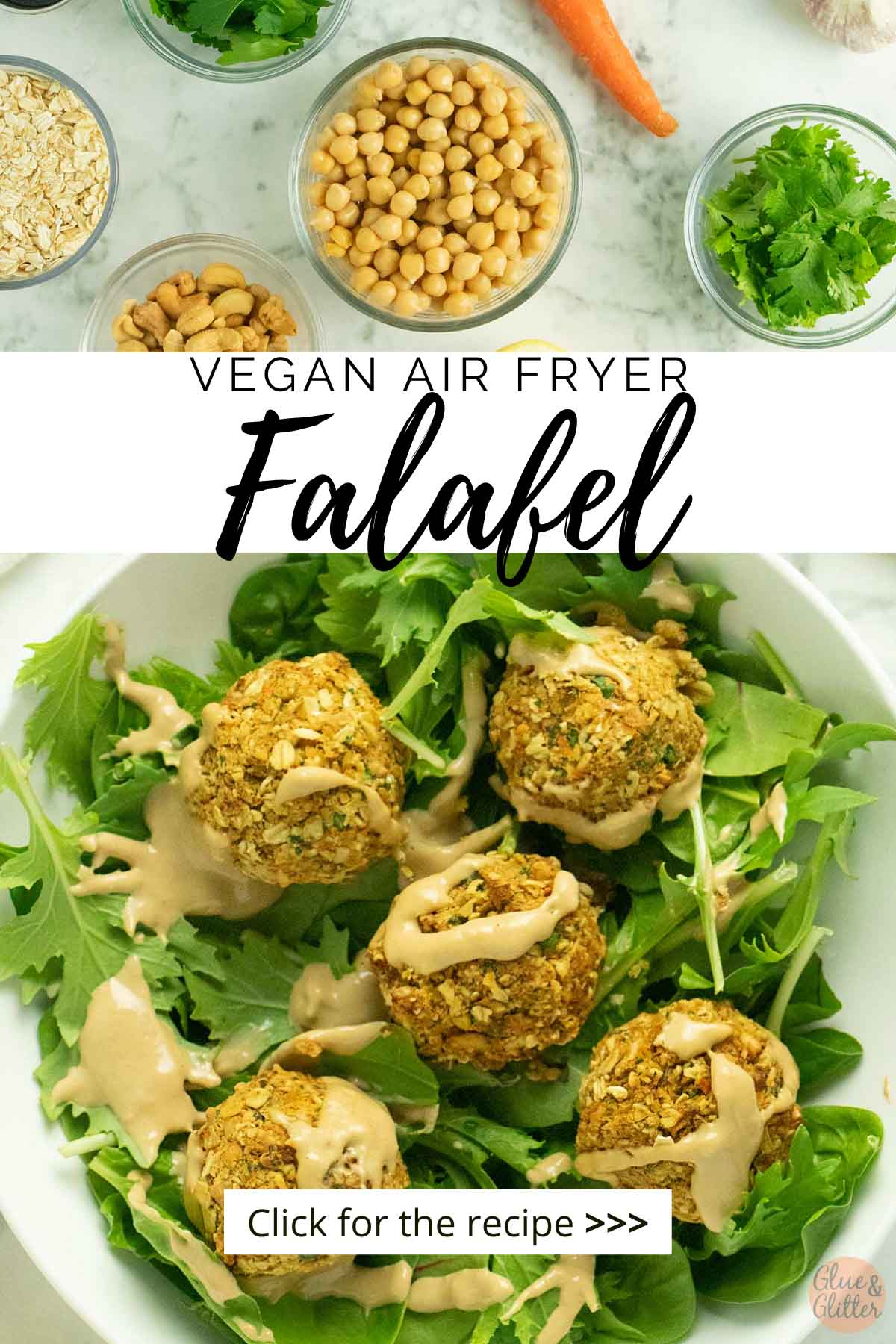 green salad topped with falafel, text overlay