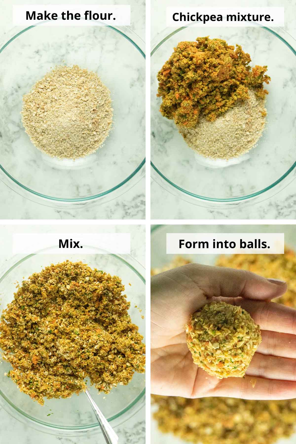 collage showing the cashew-oat flour, mixing it with the chickpea mince, and making the falafel balls