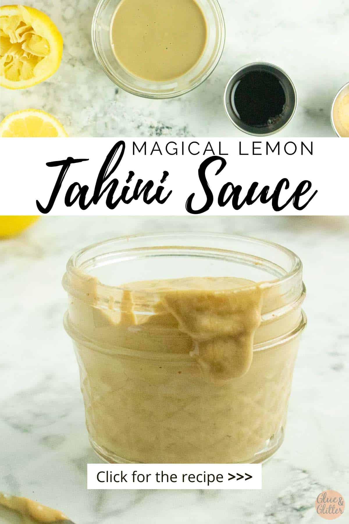 small glass mason jar of lemon tahini sauce, text overlay