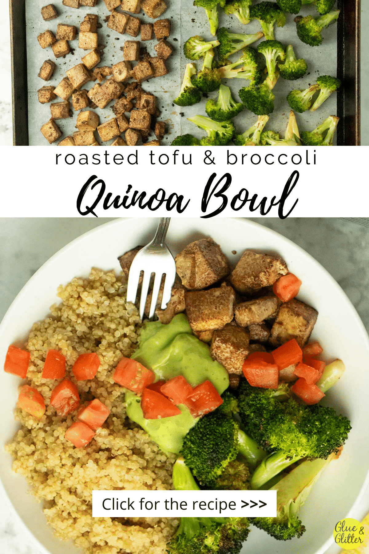 quinoa bowl with roasted tofu and broccoli topped with pesto and tomatoes