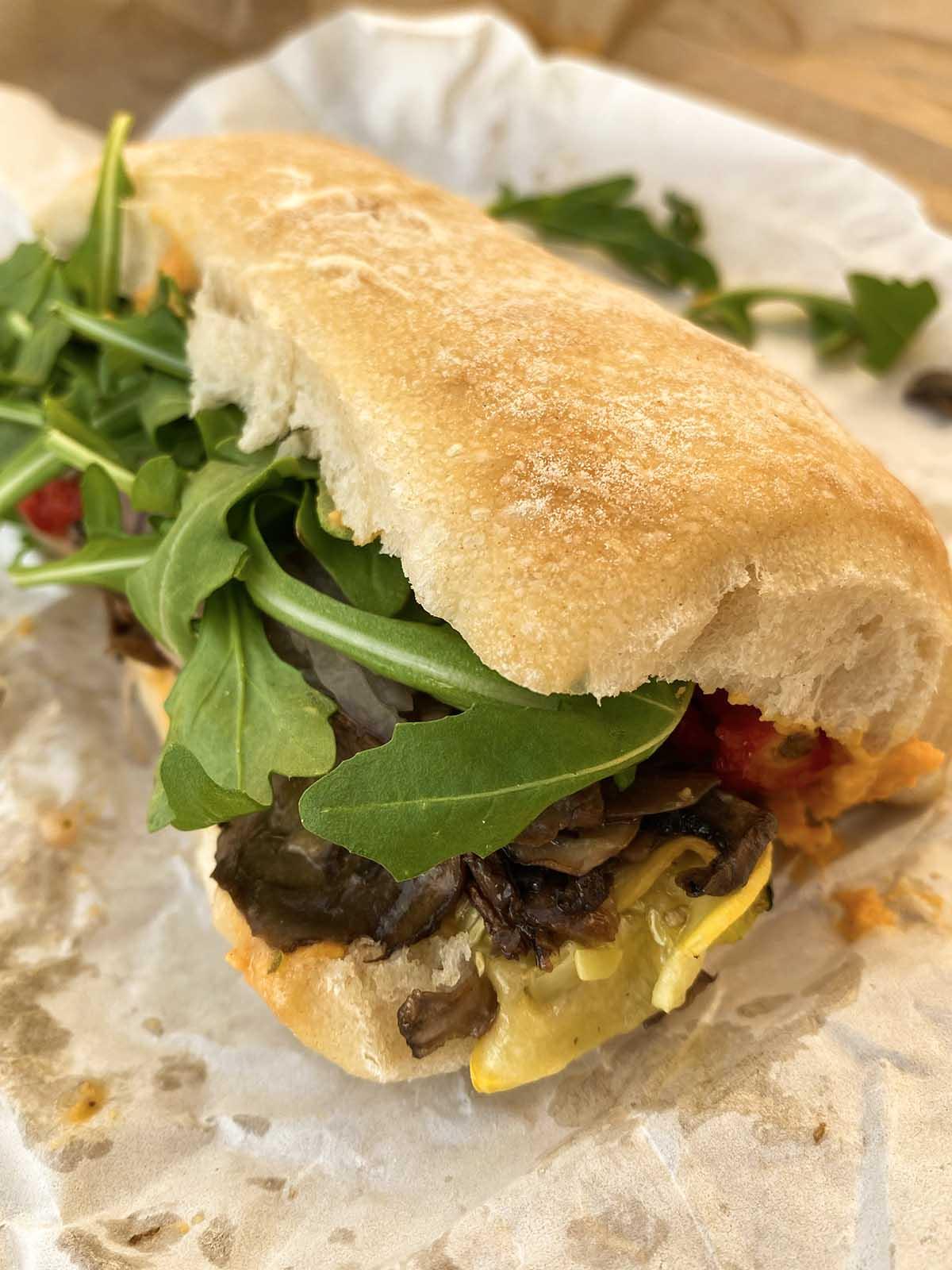 veggie sandwich on butcher paper