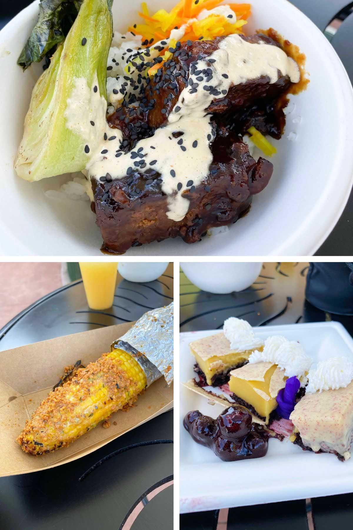 Impossible short rib, street corn, and lavender pots de creme