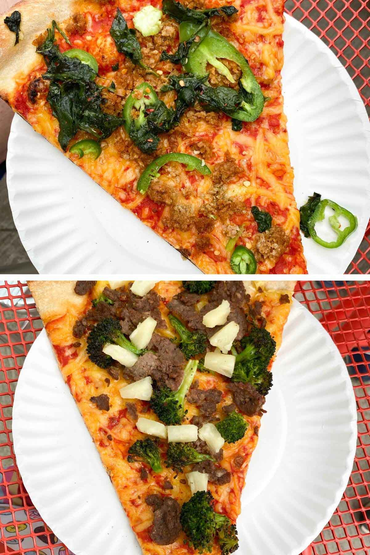 image collage of two vegan pizza slices on a red table