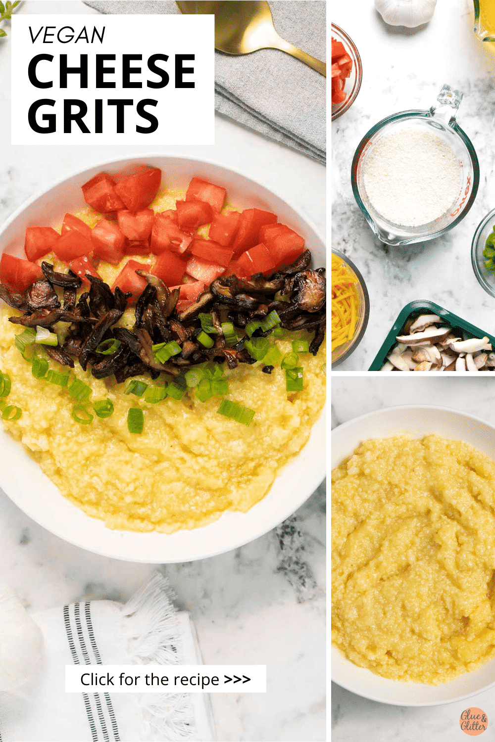 image collage of vegan cheese grits, an ingredients photo, and a close-up of the grits to show the texture