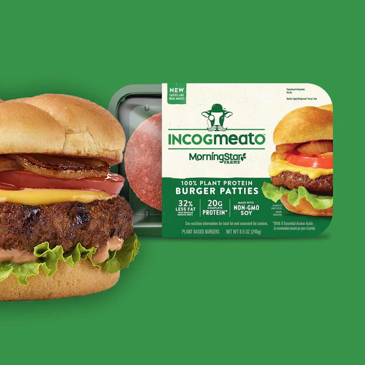 vegan burger on a green background next to a package of Incogmeato patties