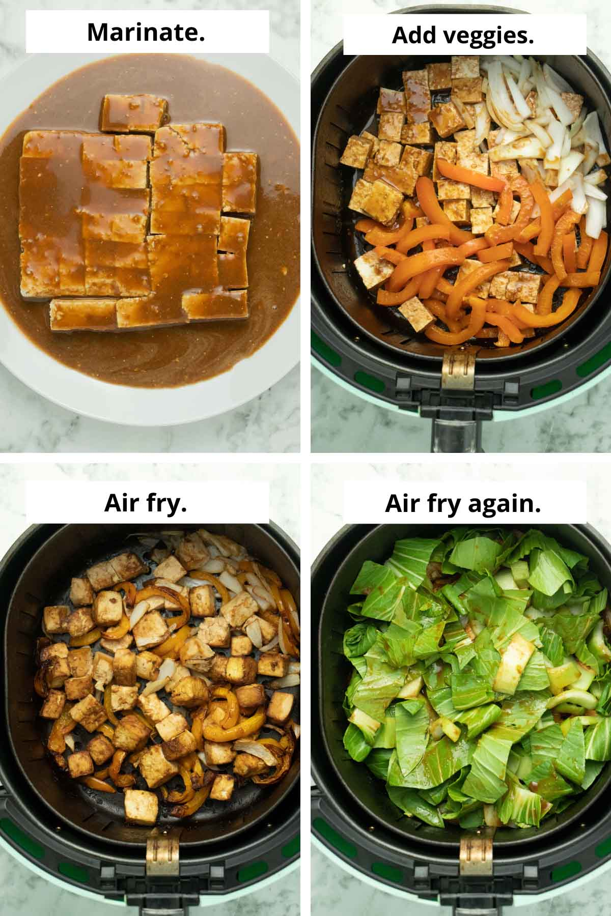 image collage showing marinating tofu, tofu and veggies before and after cooking, and adding the bok choy to the air fryer basket