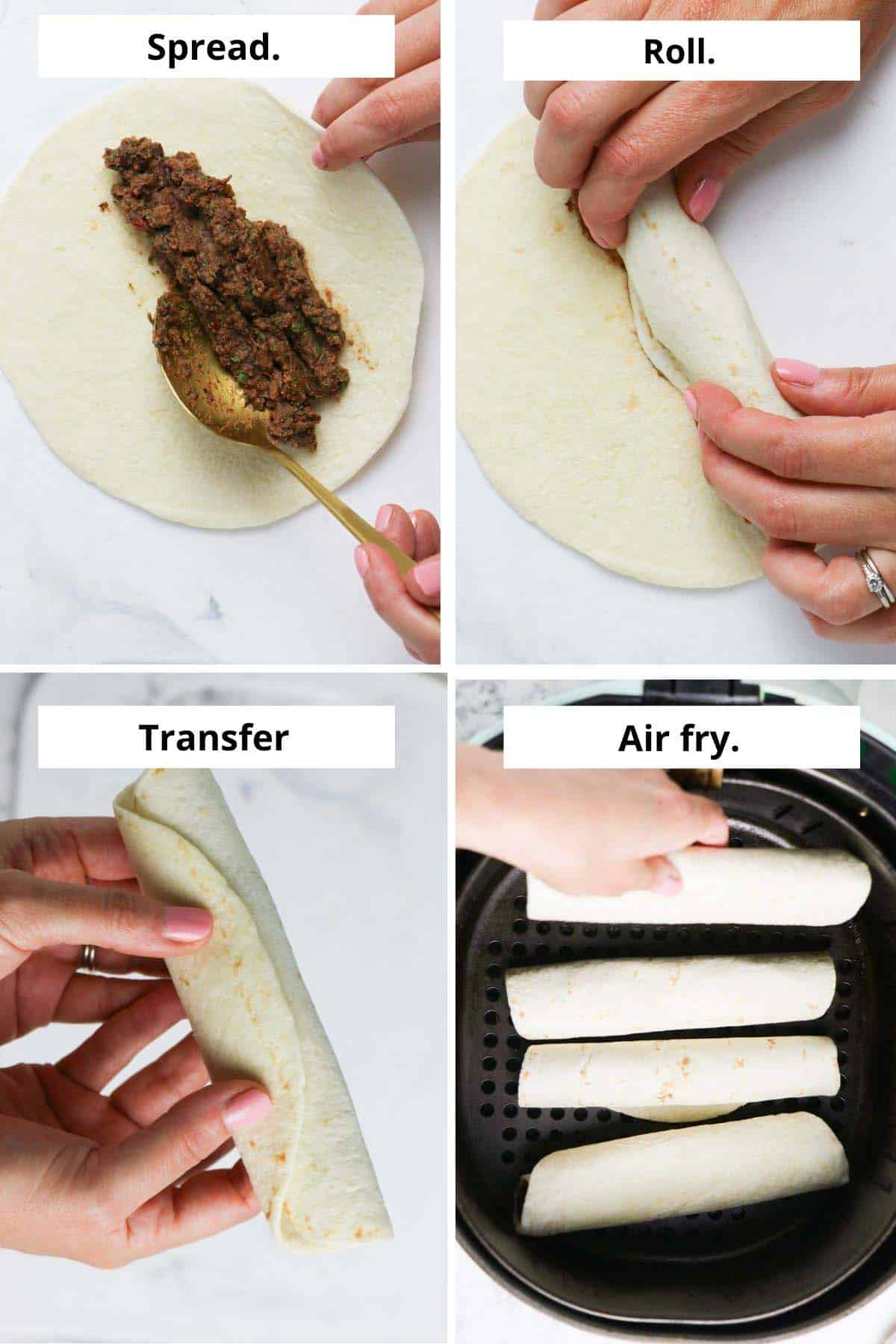 image collage showing spreading the filling, rolling the taquito, and putting it into the air fryer basket