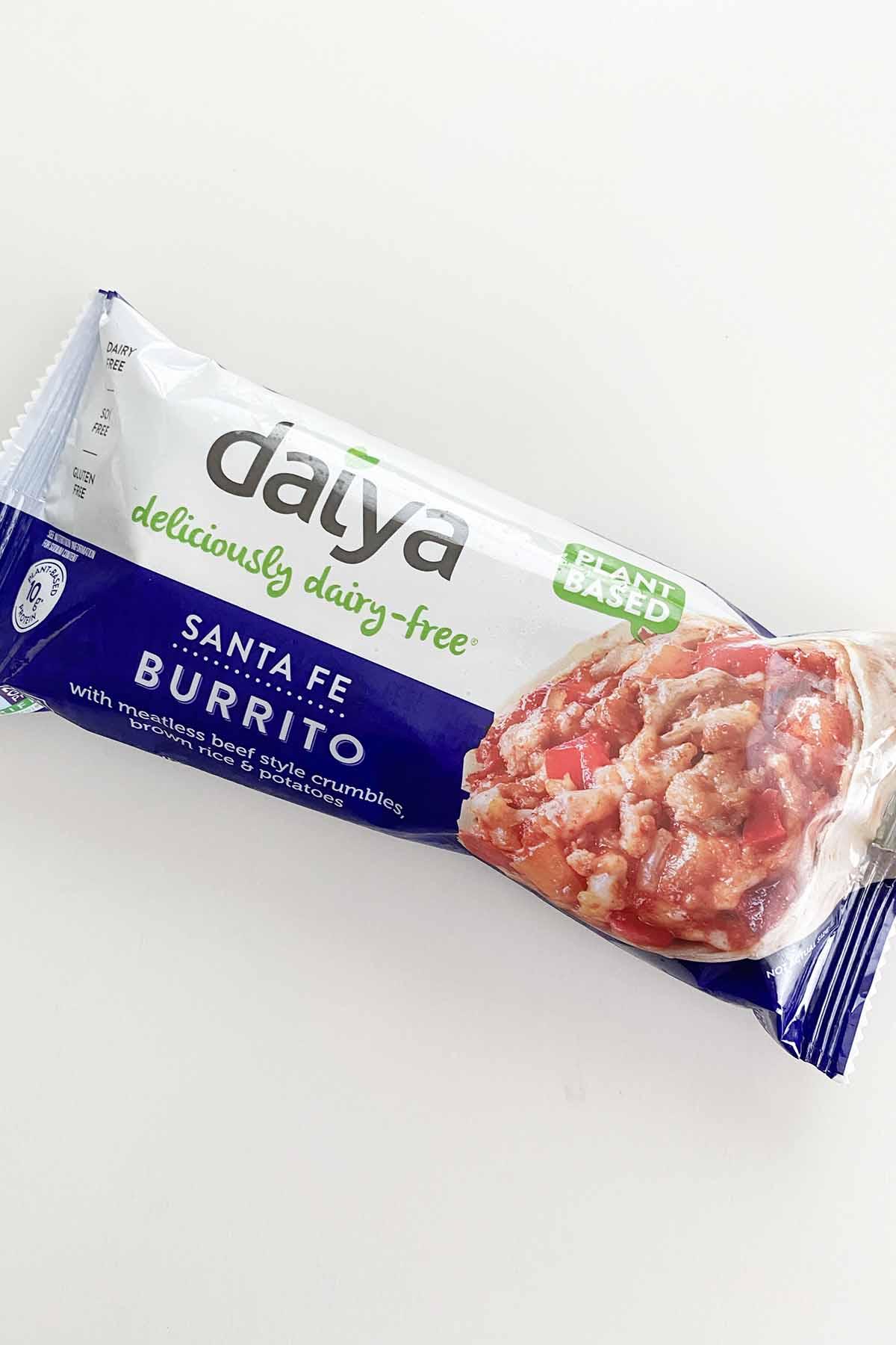 Daiya Santa Fe Burrito in the wrapper on a white table